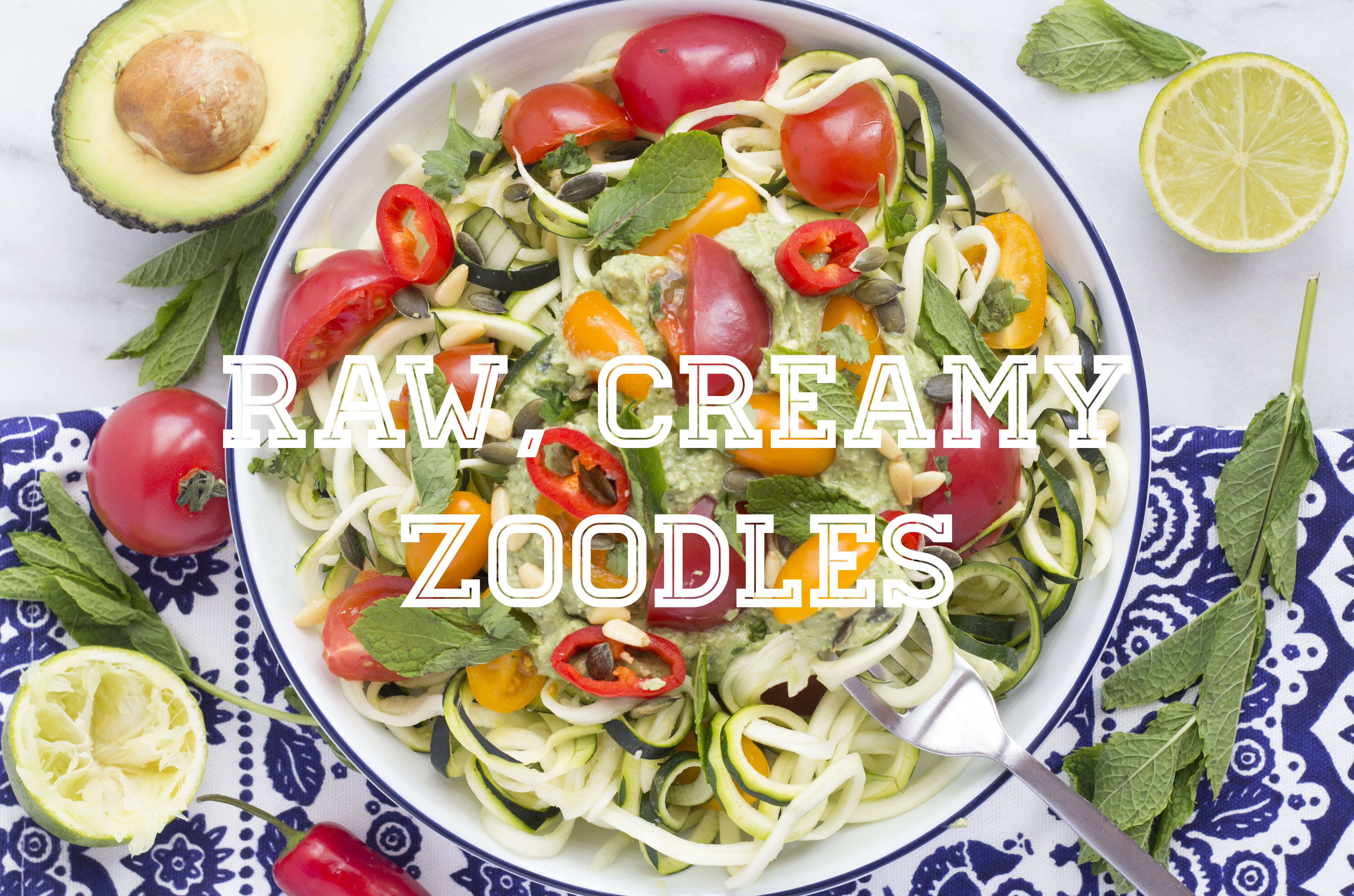 Healthy and  Simple raw zoodles a great alternative to pasta Title